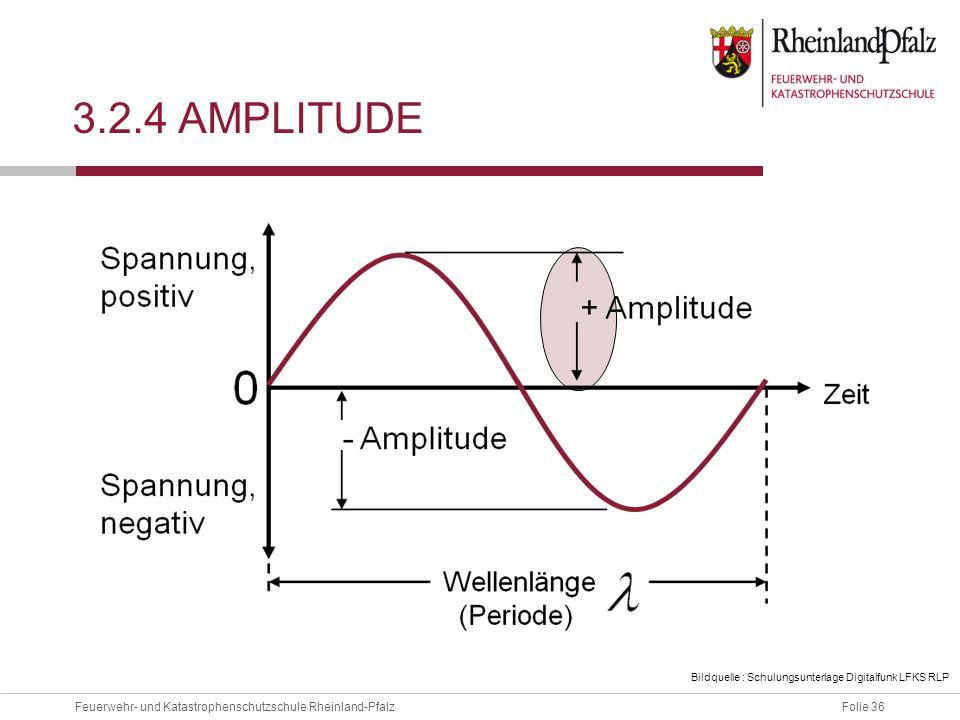 3.2.4 Amplitude Als Amplitude bezeichnet man den Abstand zwischen der Nulllinie und dem positiven oder negativen Höchstwert.