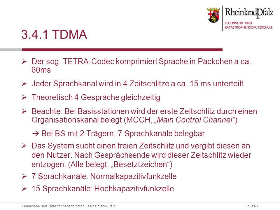 3.4.1 TDMA Der sog. TETRA-Codec komprimiert Sprache in Päckchen a ca. 60ms. Jeder Sprachkanal wird in 4 Zeitschlitze a ca. 15 ms unterteilt.