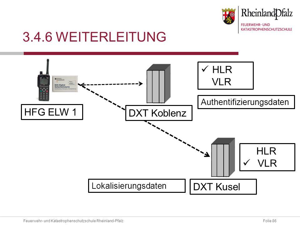 3.4.6 Weiterleitung HLR VLR HFG ELW 1 DXT Koblenz HLR VLR DXT Kusel
