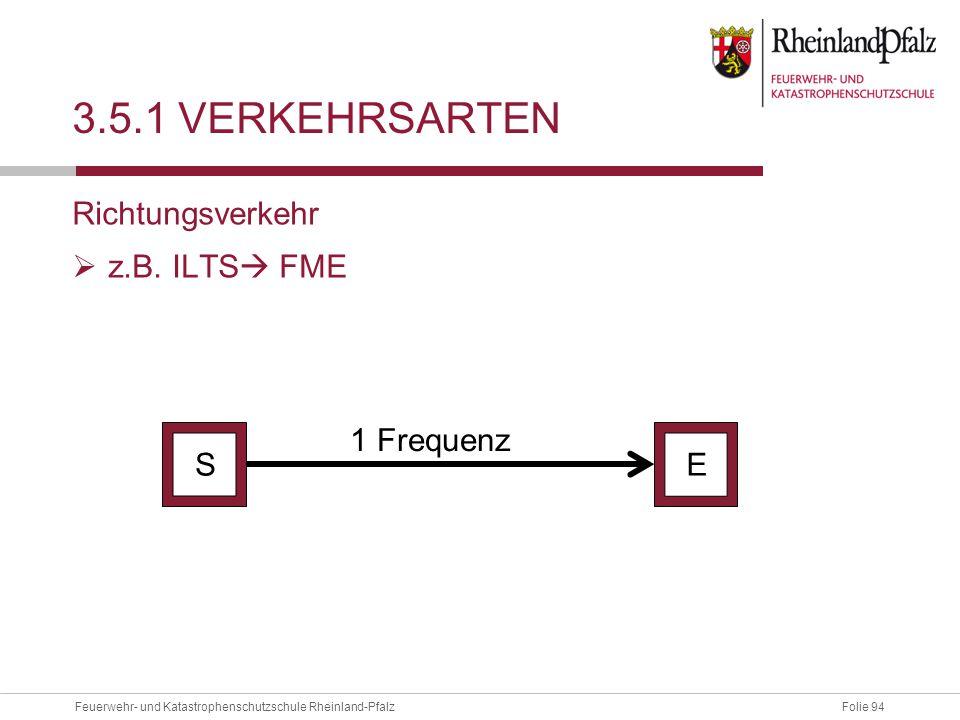 3.5.1 Verkehrsarten Richtungsverkehr z.B. ILTS FME 1 Frequenz S E