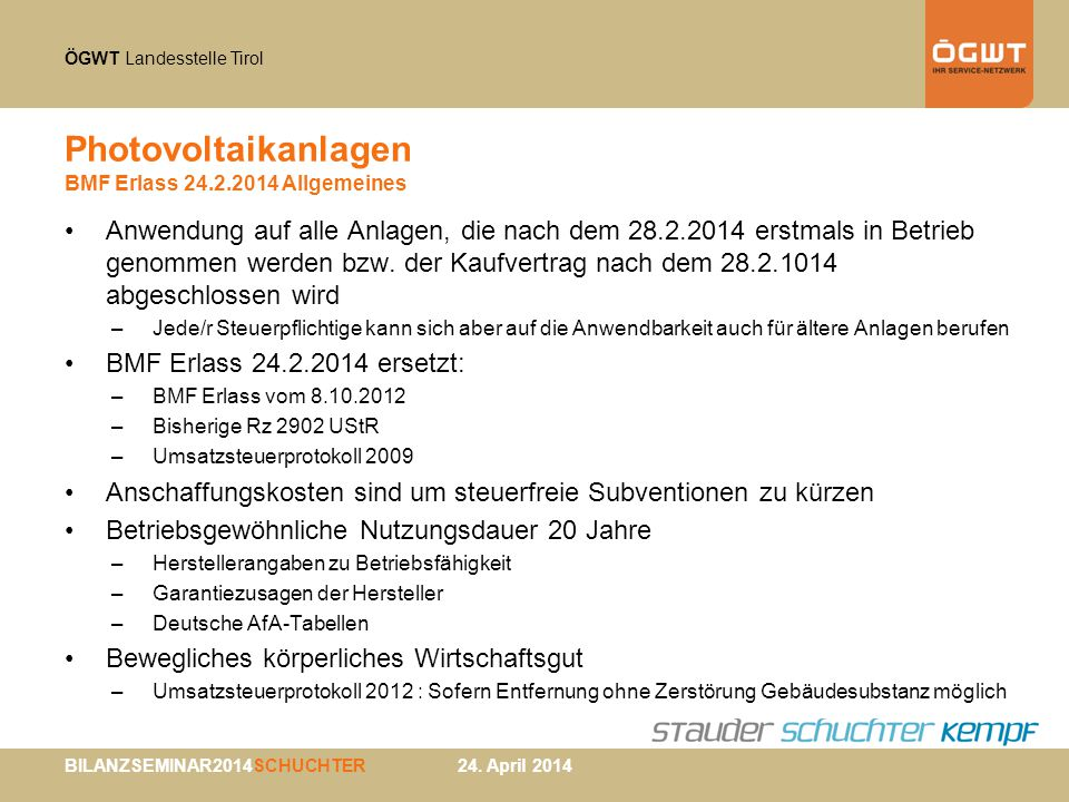 Photovoltaikanlagen BMF Erlass 24.2.2014 Allgemeines