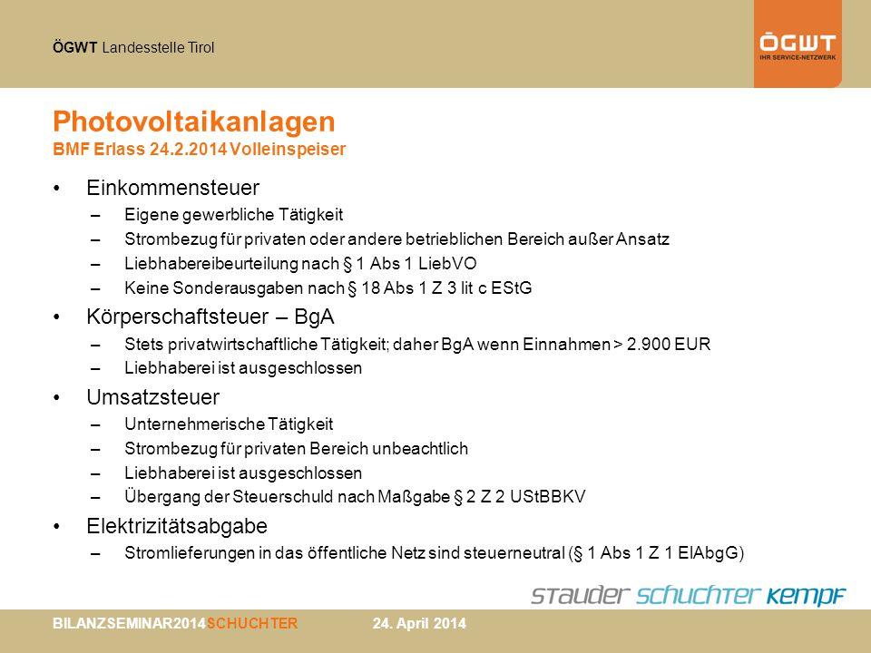 Photovoltaikanlagen BMF Erlass 24.2.2014 Volleinspeiser