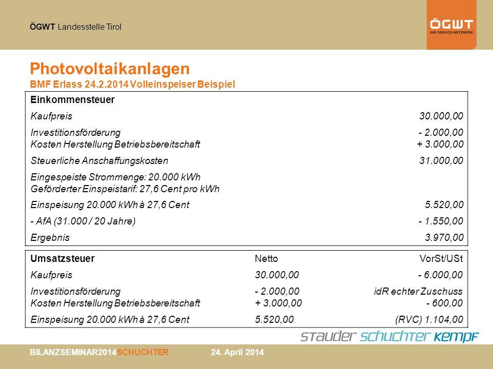 Photovoltaikanlagen BMF Erlass 24.2.2014 Volleinspeiser Beispiel