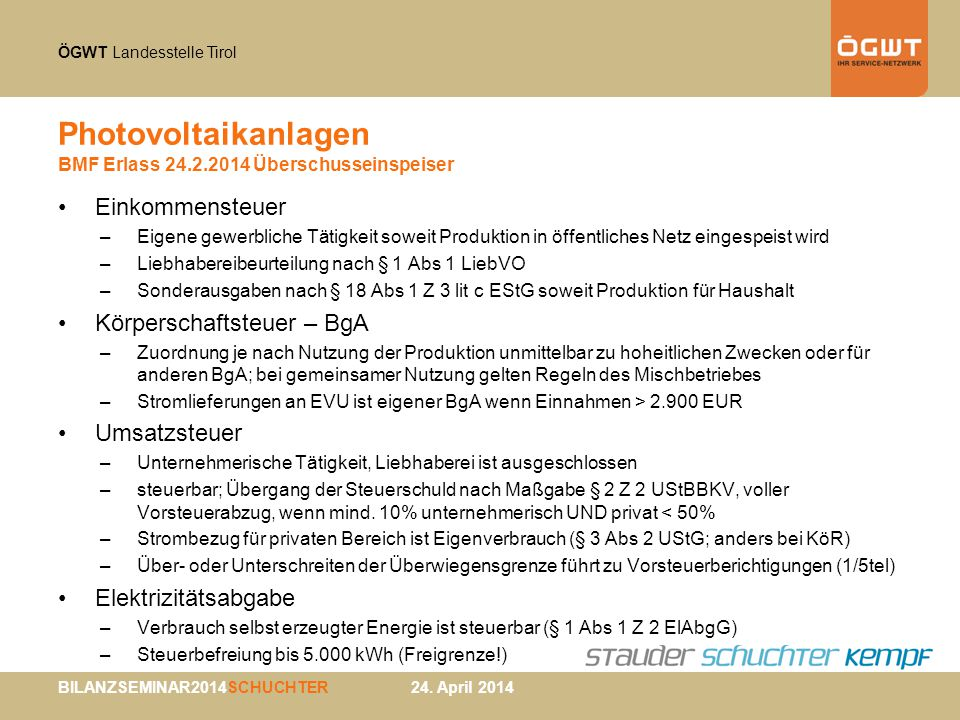 Photovoltaikanlagen BMF Erlass 24.2.2014 Überschusseinspeiser