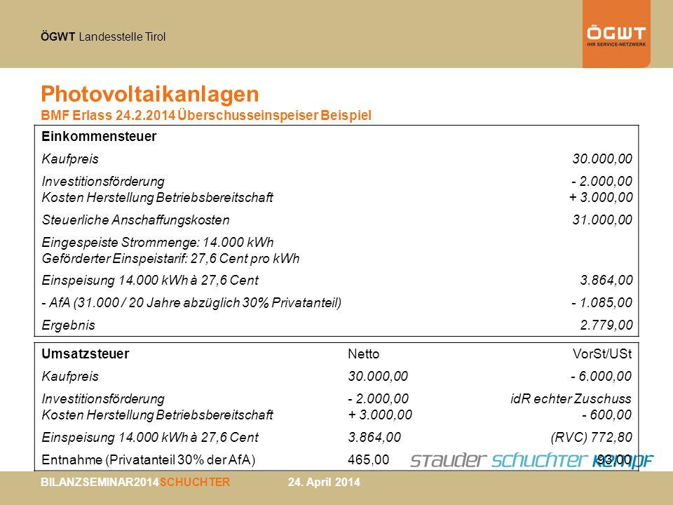 Photovoltaikanlagen BMF Erlass 24.2.2014 Überschusseinspeiser Beispiel
