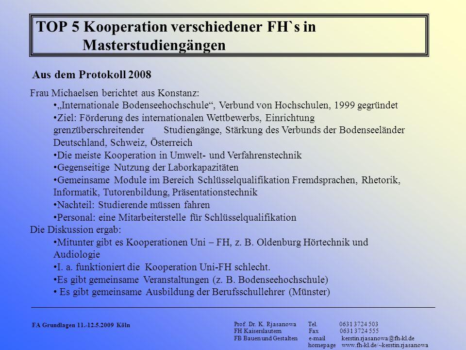 TOP 5 Kooperation verschiedener FH`s in Masterstudiengängen