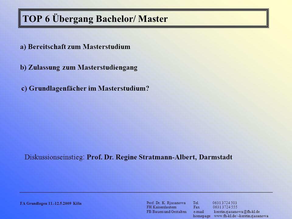 TOP 6 Übergang Bachelor/ Master