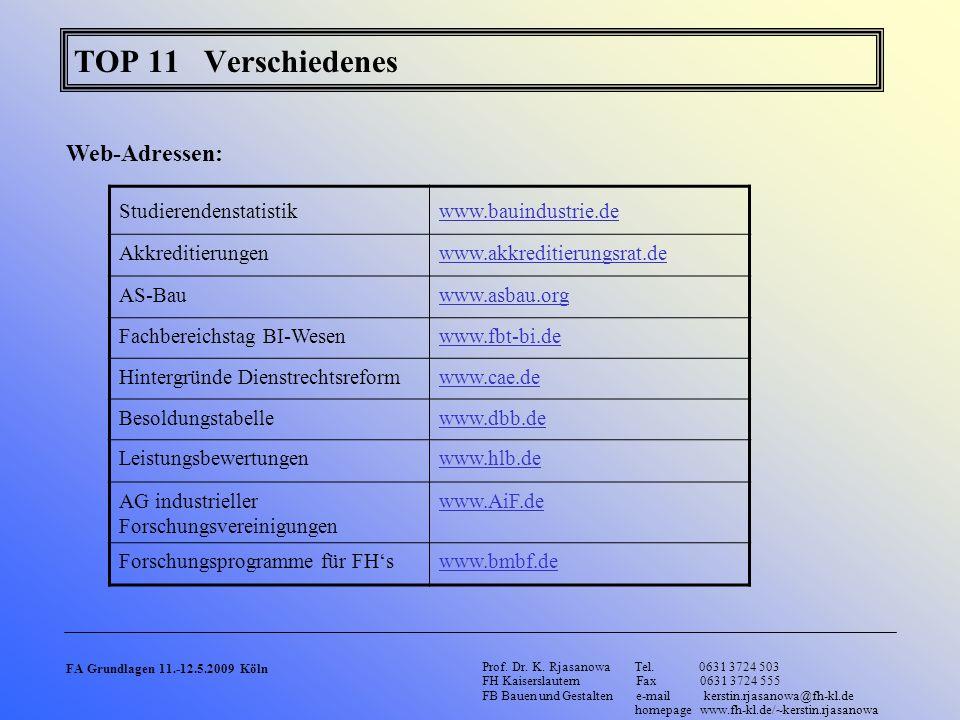 TOP 11 Verschiedenes Web-Adressen: Studierendenstatistik