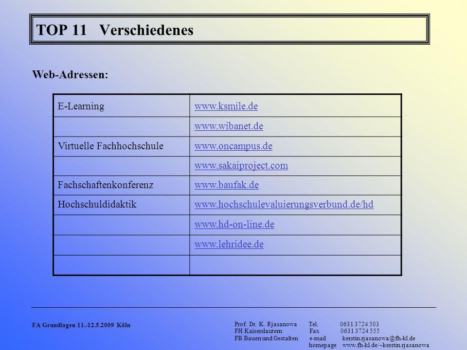TOP 11 Verschiedenes Web-Adressen: E-Learning www.ksmile.de