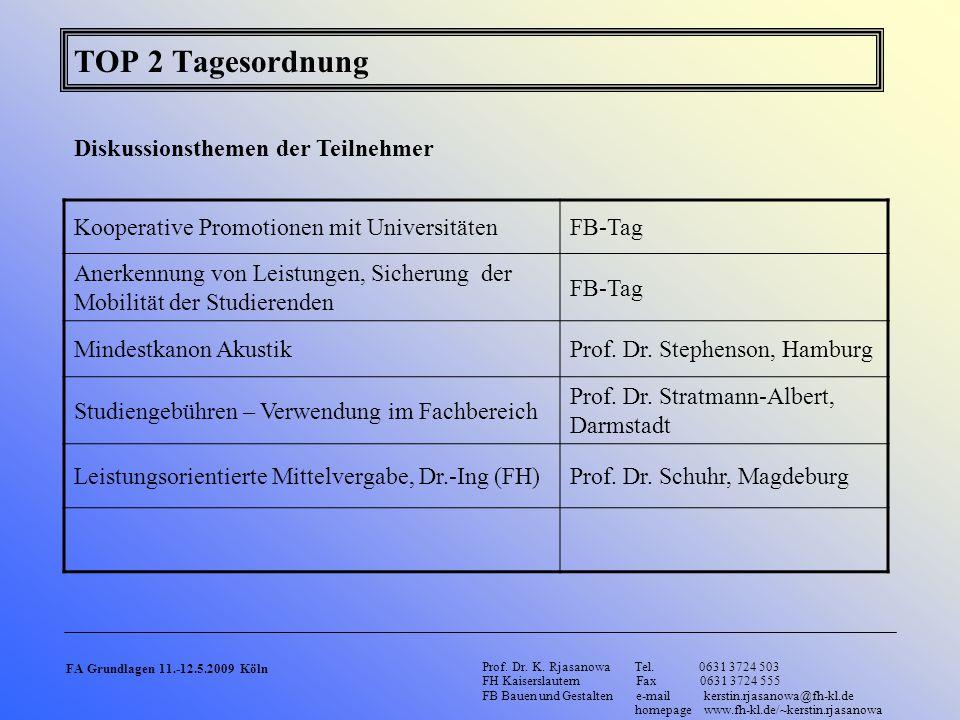 TOP 2 Tagesordnung Diskussionsthemen der Teilnehmer