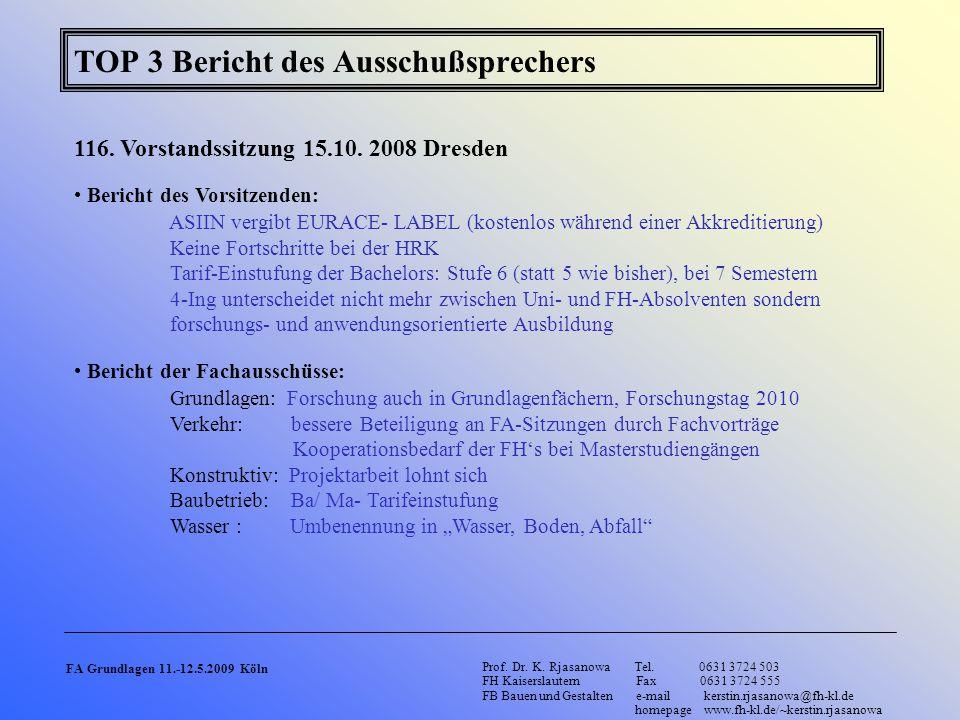 TOP 3 Bericht des Ausschußsprechers