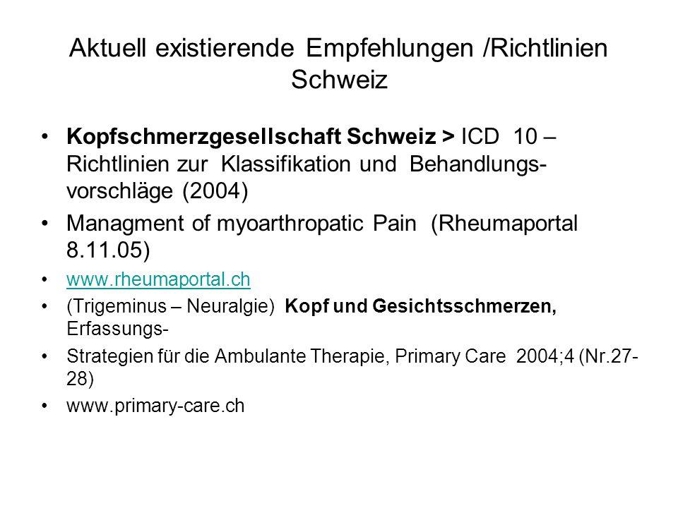 Aktuell existierende Empfehlungen /Richtlinien Schweiz