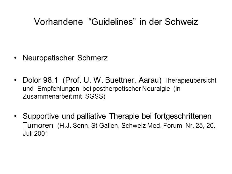 Vorhandene Guidelines in der Schweiz