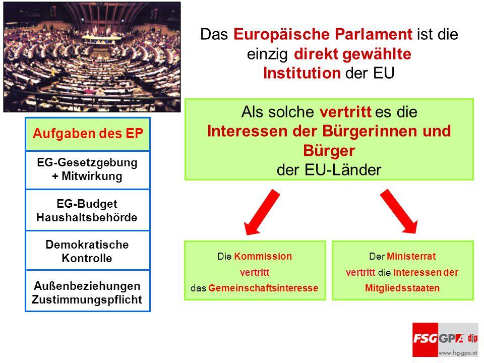 Das Europäische Parlament ist die einzig direkt gewählte Institution der EU