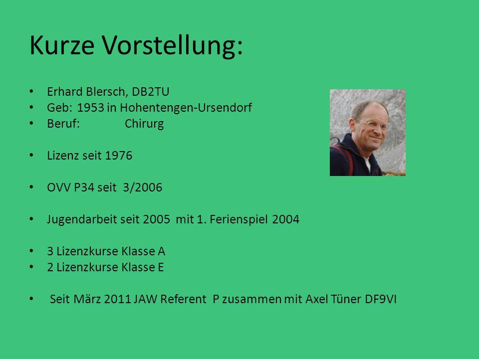 Kurze Vorstellung: Erhard Blersch, DB2TU