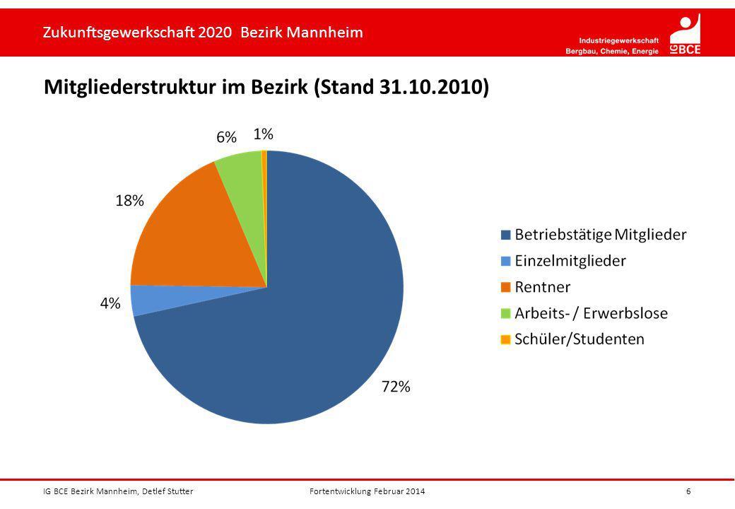 Mitgliederstruktur im Bezirk (Stand 31.10.2010)