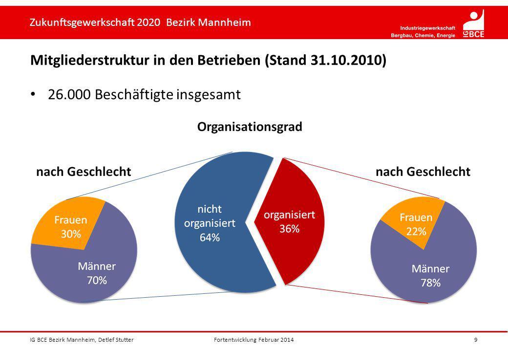 Mitgliederstruktur in den Betrieben (Stand 31.10.2010)