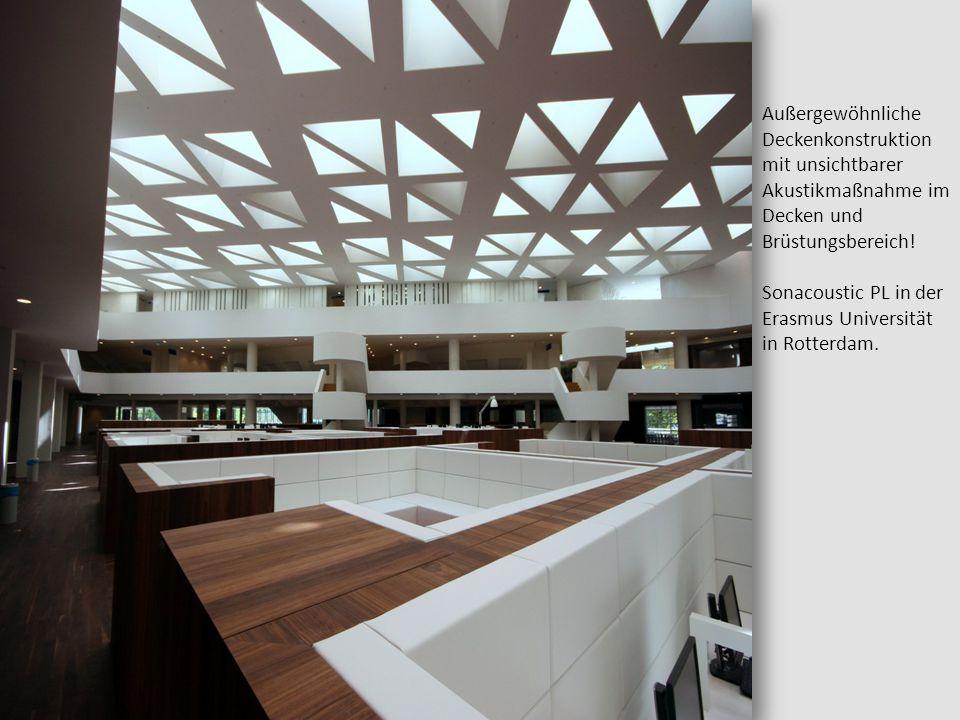 Außergewöhnliche Deckenkonstruktion mit unsichtbarer Akustikmaßnahme im Decken und Brüstungsbereich!