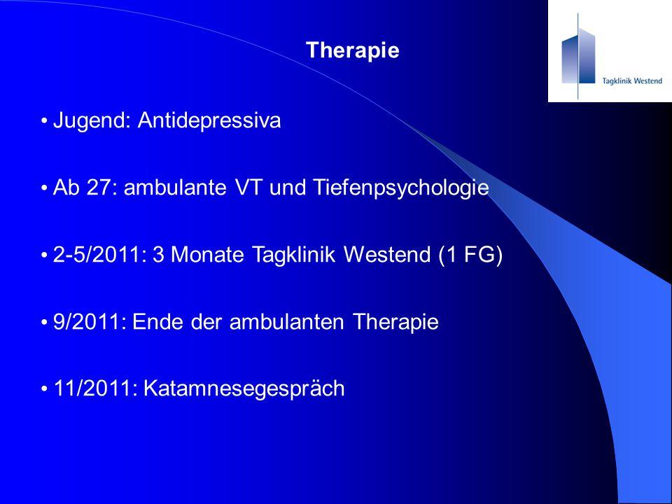 Therapie Jugend: Antidepressiva. Ab 27: ambulante VT und Tiefenpsychologie. 2-5/2011: 3 Monate Tagklinik Westend (1 FG)