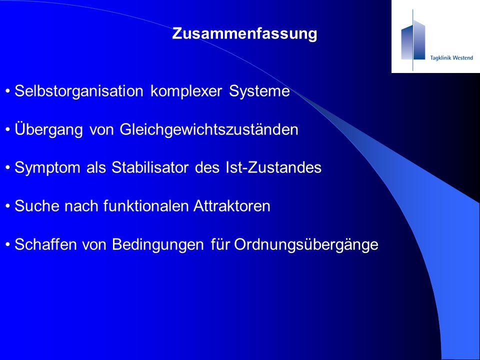 Zusammenfassung Selbstorganisation komplexer Systeme. Übergang von Gleichgewichtszuständen. Symptom als Stabilisator des Ist-Zustandes.