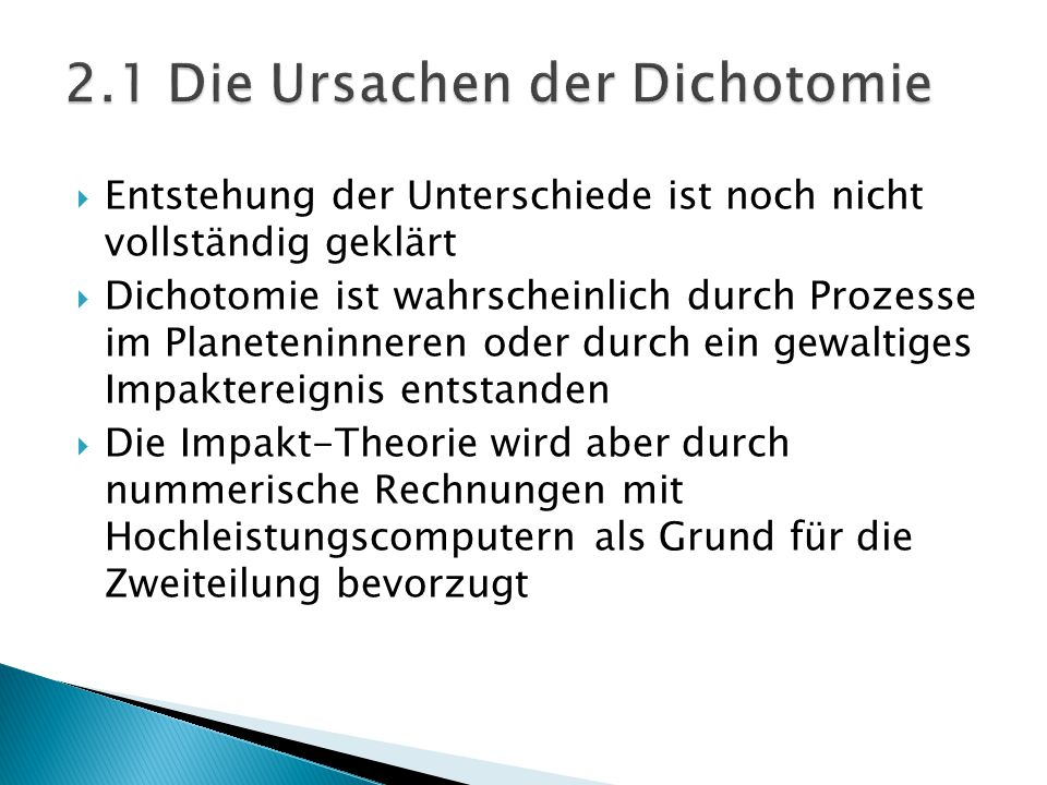 2.1 Die Ursachen der Dichotomie