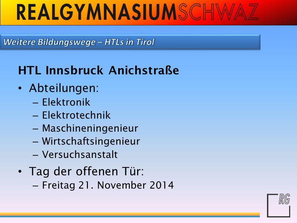 HTL Innsbruck Anichstraße Abteilungen: