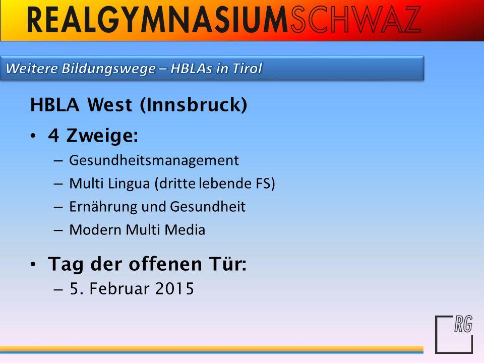 HBLA West (Innsbruck) 4 Zweige: Tag der offenen Tür: