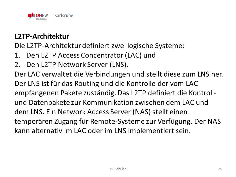Die L2TP-Architektur definiert zwei logische Systeme: