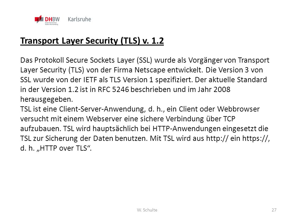 Transport Layer Security (TLS) v. 1.2