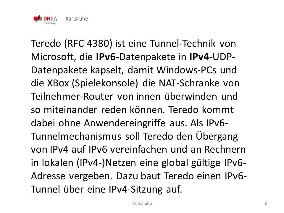 Teredo (RFC 4380) ist eine Tunnel-Technik von Microsoft, die IPv6-Datenpakete in IPv4-UDP-Datenpakete kapselt, damit Windows-PCs und die XBox (Spielekonsole) die NAT-Schranke von Teilnehmer-Router von innen überwinden und so miteinander reden können. Teredo kommt dabei ohne Anwendereingriffe aus. Als IPv6-Tunnelmechanismus soll Teredo den Übergang von IPv4 auf IPv6 vereinfachen und an Rechnern in lokalen (IPv4-)Netzen eine global gültige IPv6-Adresse vergeben. Dazu baut Teredo einen IPv6-Tunnel über eine IPv4-Sitzung auf.