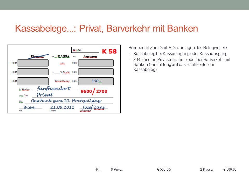 Kassabelege...: Privat, Barverkehr mit Banken
