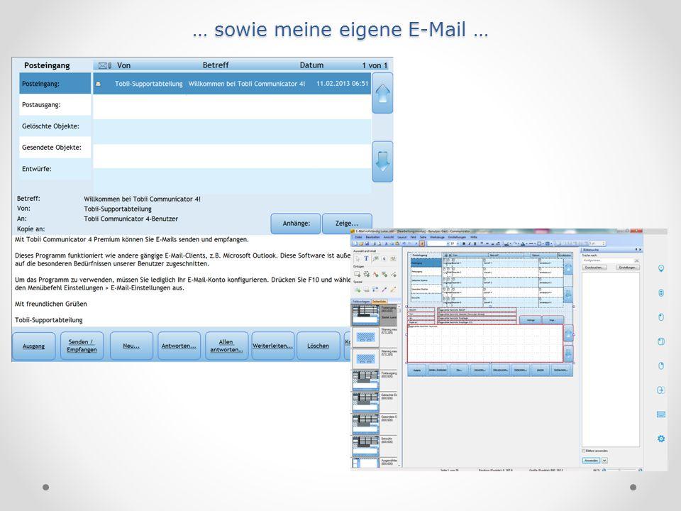 … sowie meine eigene E-Mail …