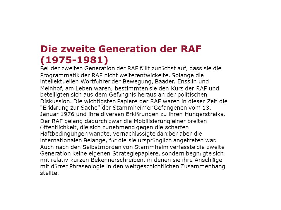 Die zweite Generation der RAF (1975-1981)