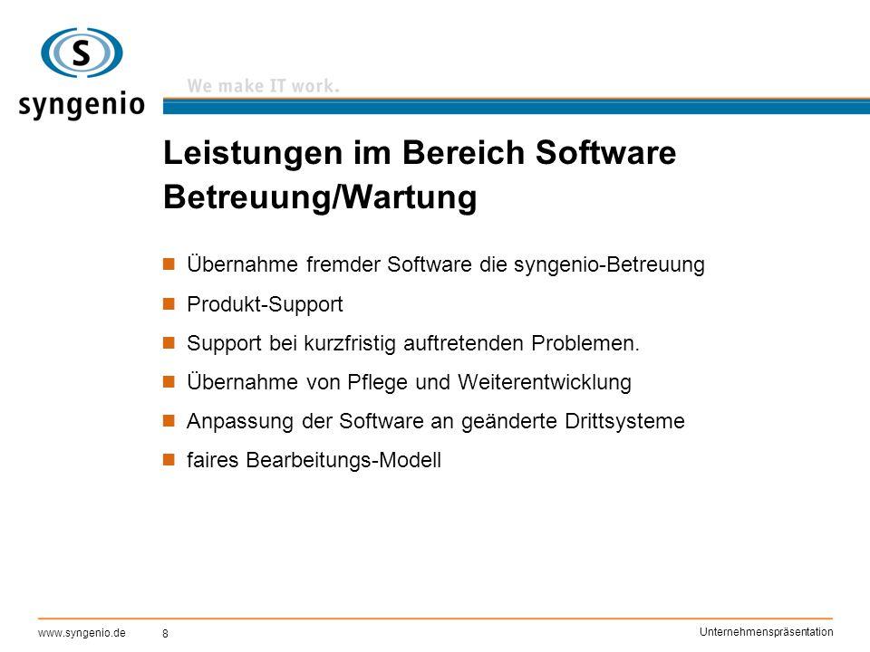 Leistungen im Bereich Software Betreuung/Wartung