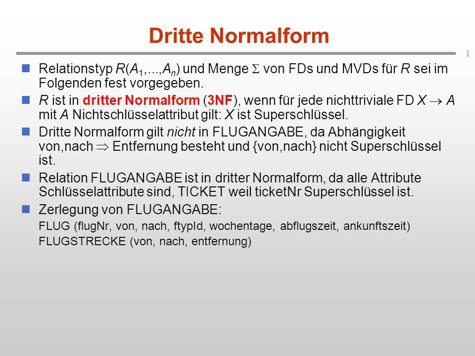 Dritte Normalform Relationstyp R(A1,...,An) und Menge  von FDs und MVDs für R sei im Folgenden fest vorgegeben.