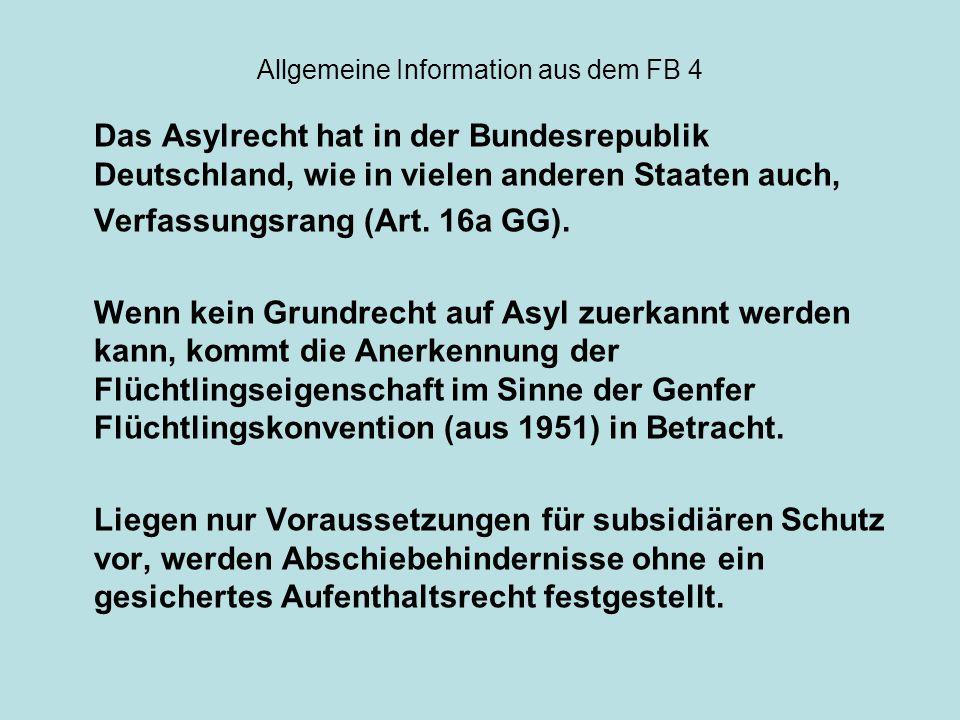 Allgemeine Information aus dem FB 4