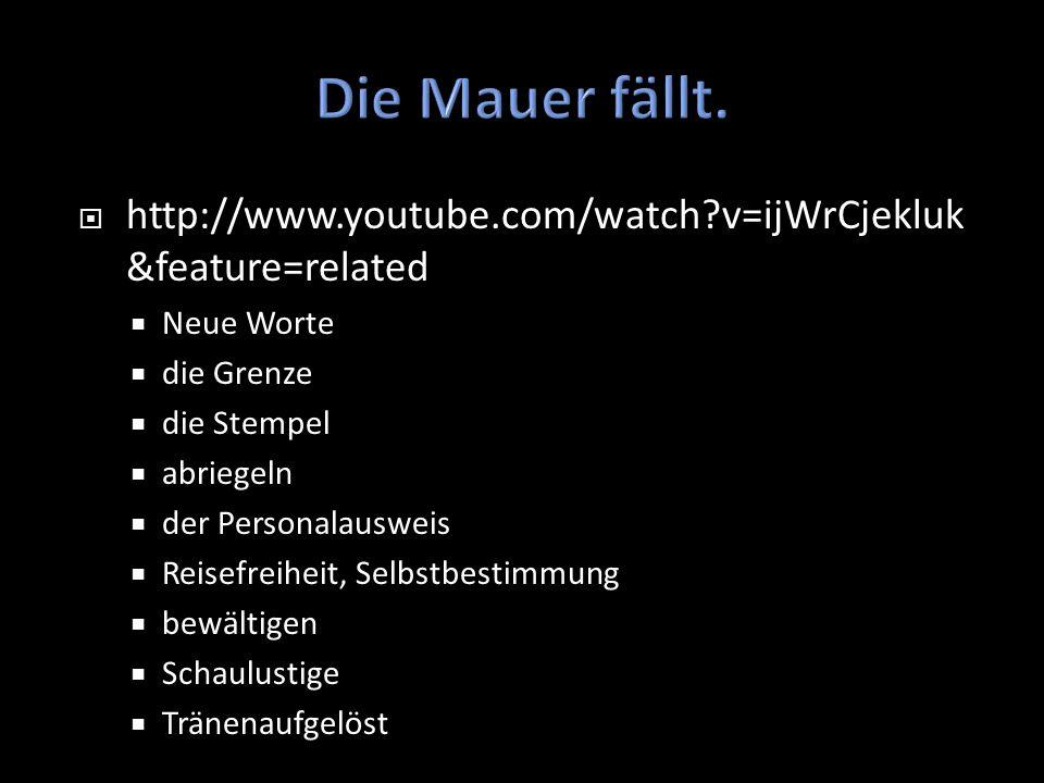 Die Mauer fällt. http://www.youtube.com/watch v=ijWrCjekluk&feature=related. Neue Worte. die Grenze.
