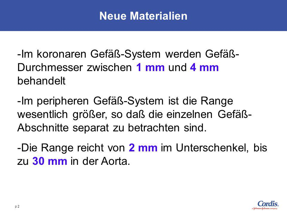 Neue Materialien Im koronaren Gefäß-System werden Gefäß-Durchmesser zwischen 1 mm und 4 mm behandelt.