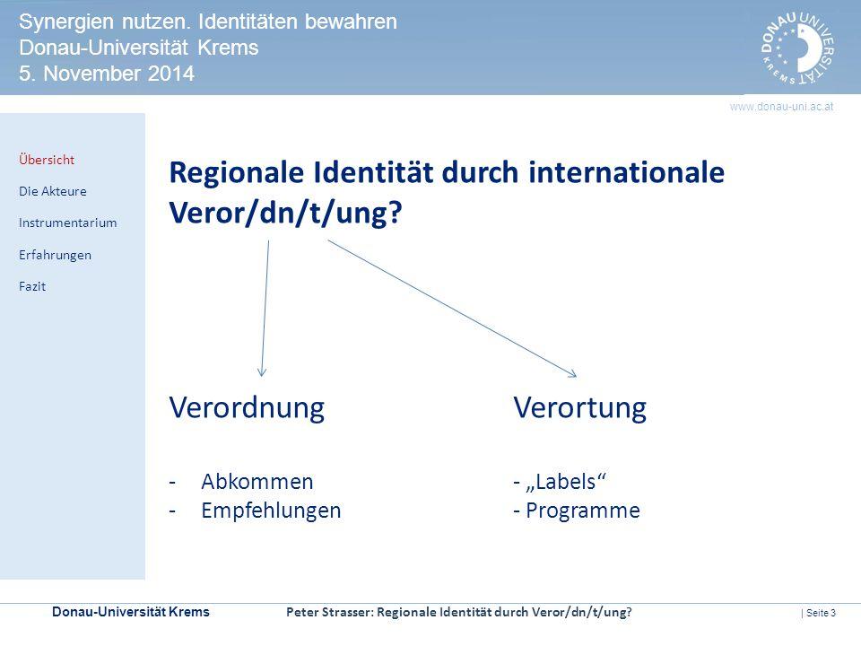 Regionale Identität durch internationale Veror/dn/t/ung