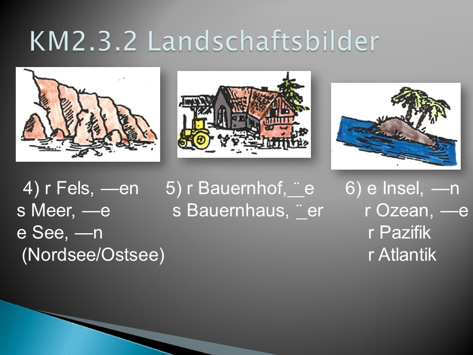 KM2.3.2 Landschaftsbilder s Meer, —e s Bauernhaus, ¨ er r Ozean, —e