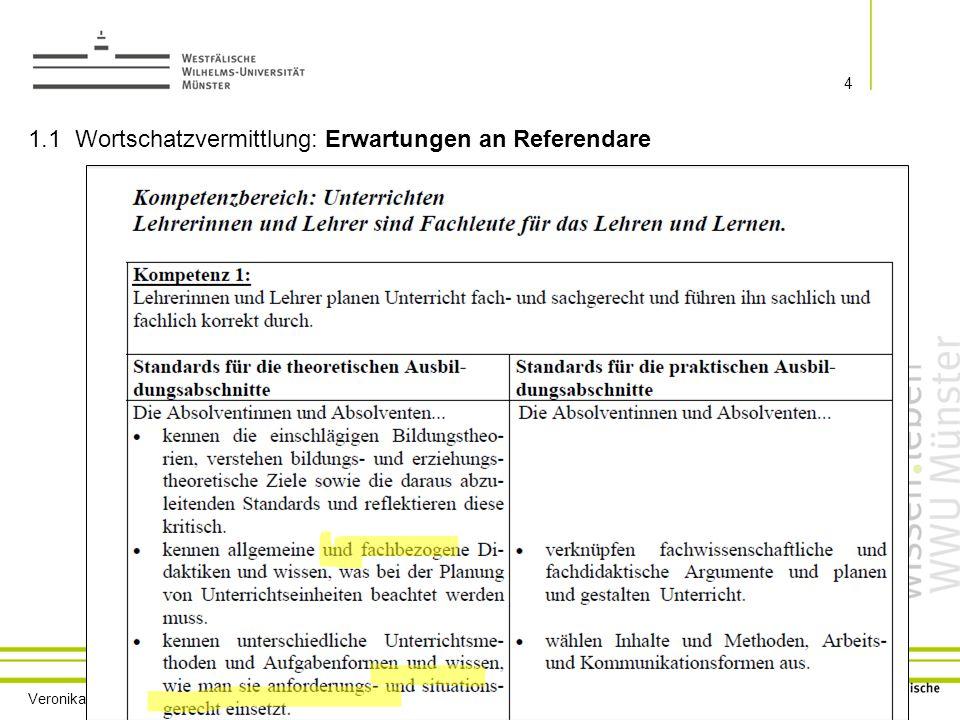1.1 Wortschatzvermittlung: Erwartungen an Referendare