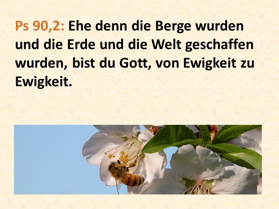 Ps 90,2: Ehe denn die Berge wurden und die Erde und die Welt geschaffen wurden, bist du Gott, von Ewigkeit zu Ewigkeit.
