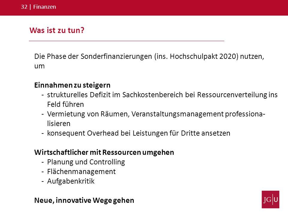 32 | Finanzen Was ist zu tun Die Phase der Sonderfinanzierungen (ins. Hochschulpakt 2020) nutzen, um.