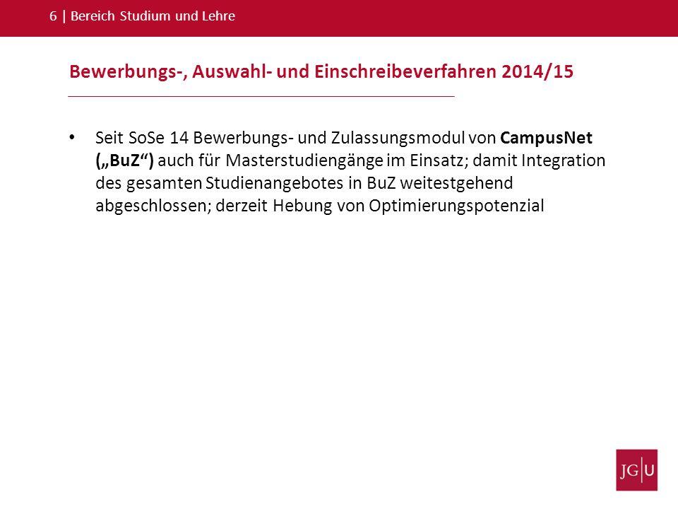 Bewerbungs-, Auswahl- und Einschreibeverfahren 2014/15