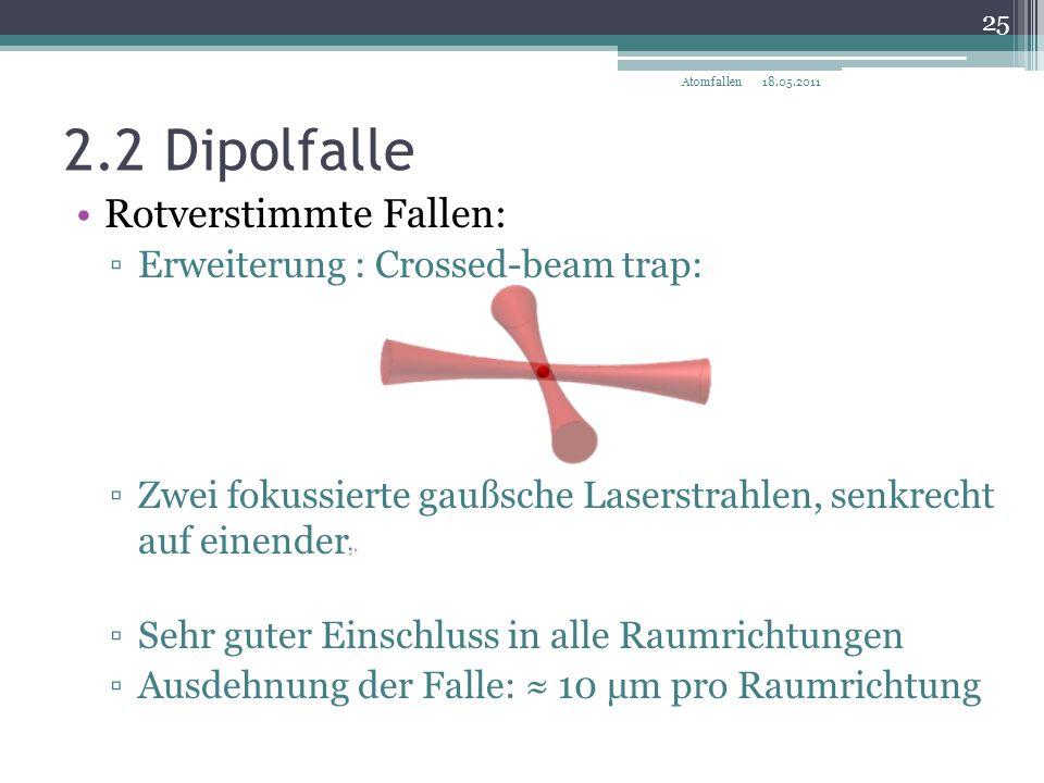 2.2 Dipolfalle Rotverstimmte Fallen: Erweiterung : Crossed-beam trap: