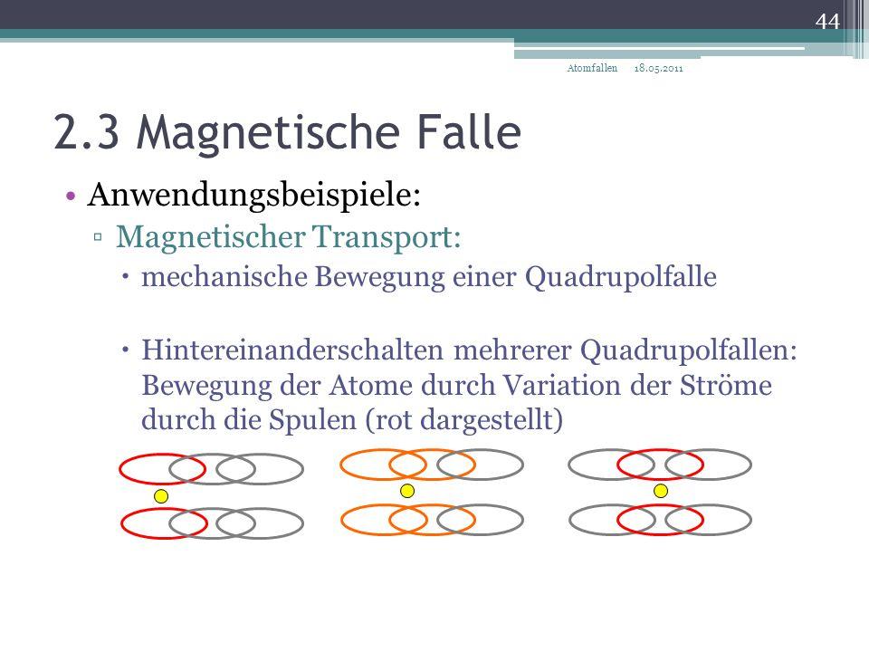 2.3 Magnetische Falle Anwendungsbeispiele: Magnetischer Transport:
