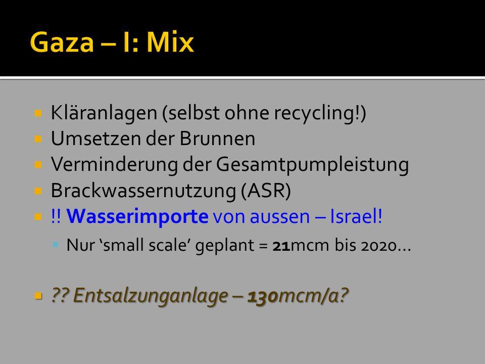 Gaza – I: Mix Kläranlagen (selbst ohne recycling!)