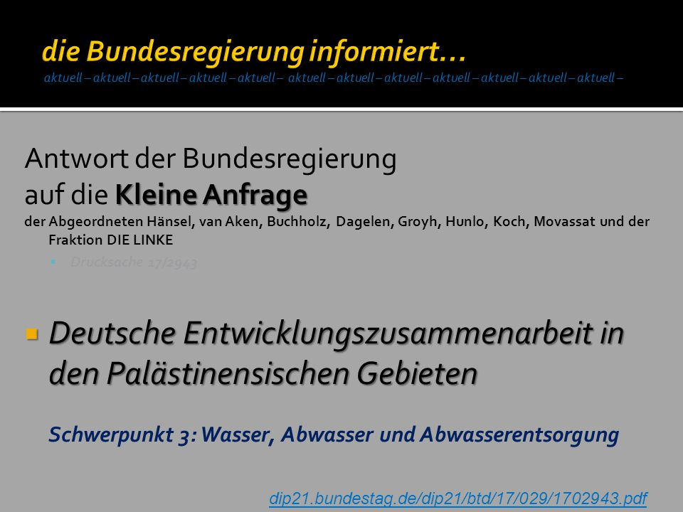 Deutsche Entwicklungszusammenarbeit in den Palästinensischen Gebieten