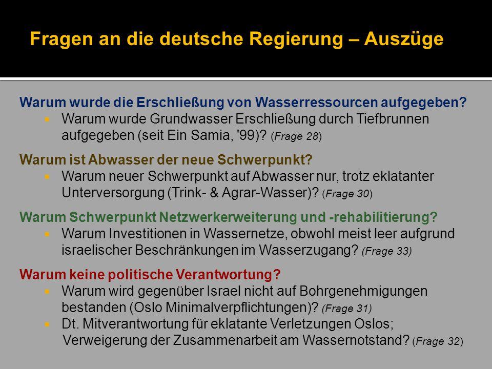 Fragen an die deutsche Regierung – Auszüge