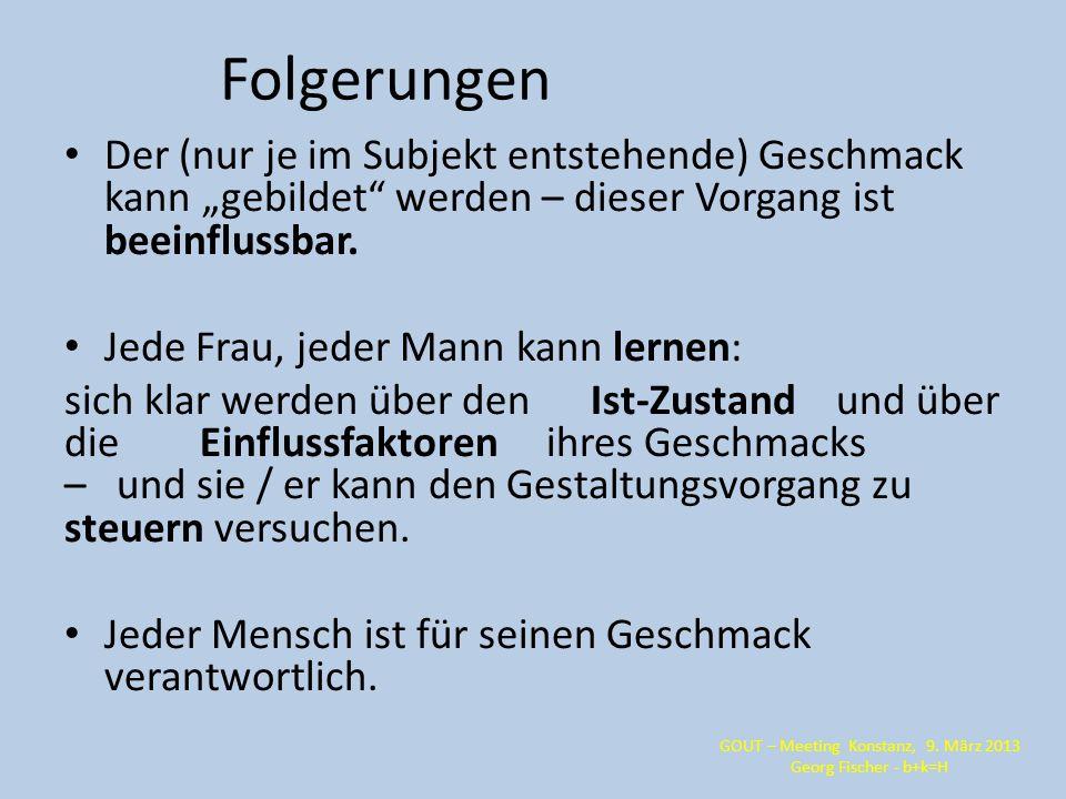 GOUT – Meeting Konstanz, 9. März 2013 Georg Fischer - b+k=H